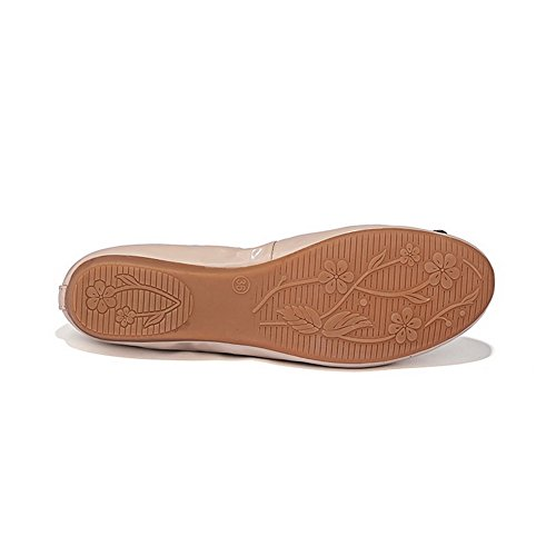 AllhqFashion Mujer Charol Pu Tacón Bajo Puntera Redonda Puntera Cerrada ZapatosDeTacón Albaricoque