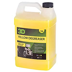 3D Yellow Degreaser Wheel & Tire Cleaner - 1 Gallon | Highly Concentrated Degreaser & Cleaner | Safe for All Tires | Removes Grease & Brake Dust | Green, Biodegradable & Environmentally Friendly