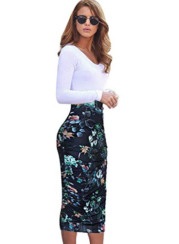 VFSHOW Womens Elegant Dark Blue Floral Print Ruched Ruffle High Waist Pencil Midi Mid-Calf Skirt 2280 BLK 3XL