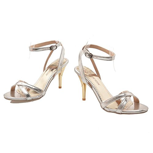 COOLCEPT Women Fashion Ankle Strap Criss Cross Strappy Sandals Wedding Party Shoes Silver KuCMo4H