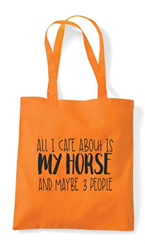 Funny I All Tote Maybe Horse Three Themed My Animal Care And Is Shopper Bag People Orange Cute About PwqU1w4