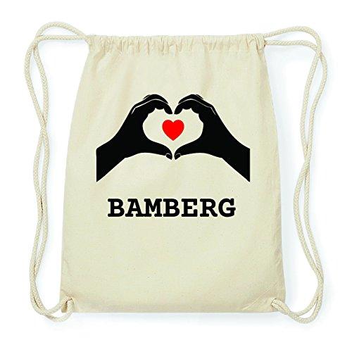 JOllify BAMBERG Hipster Turnbeutel Tasche Rucksack aus Baumwolle - Farbe: natur Design: Hände Herz