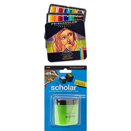 Prismacolor Premier Soft Core Colored Pencil, Set of 48 Assorted Colors with Scholar Pencil Sharpener