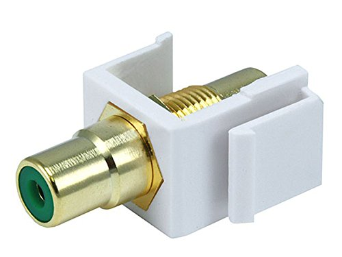 Monoprice 106546 Keystone Jack-Modular RCA with Green Center, White