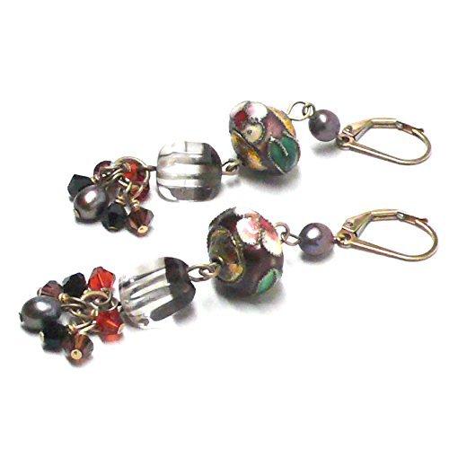- Created Quartz Crystal Cluster Drop Cloisonne Earrings