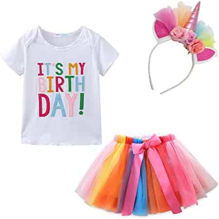 5fb8421f65 Mud Kingdom Little Girl Birthday Outfit Tops and Skirt Tutu Clothes Set