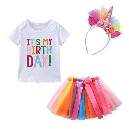 Mud Kingdom Toddler Girl Unicorn Birthday Shirt and Skirt Set 3T - Happy Birthday Shirt