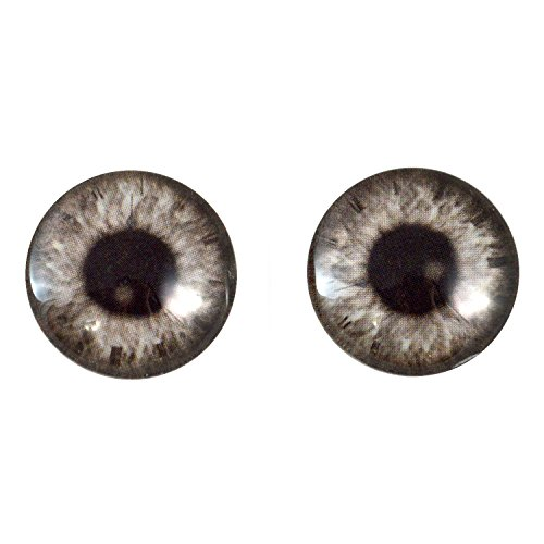 20mm Black and White Steampunk Glass Eyes Fantasy Taxidermy Art Doll Making or Jewelry Crafts Set of 2 -
