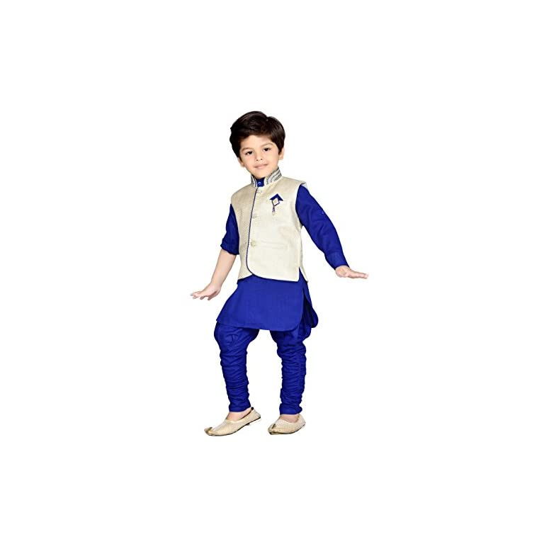 41w OF%2BbMGL. SS768  - AJ Dezines Kids Ethnic Wear Kurta Pyjama Waistcoat Set for Boys