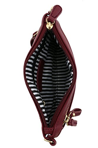 Multi Burgundy Wristlet Zipper Emblem Bag Pocket Crossbody with Small OaqORP
