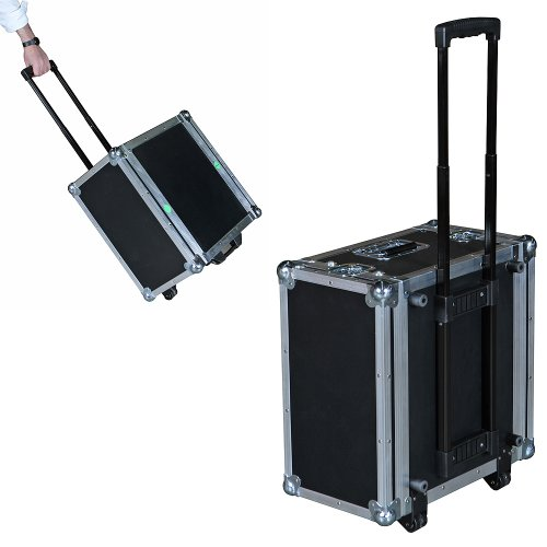 Rack Mount Case - 6 Space 6U ATA Rack Case w/Retractable Handle & Dolly Wheels - 16 Inch Shell