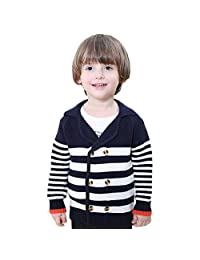 Little boys Knit Long Sleeve Button-down Knit Cardigan Sweaters Coat 4-5Years