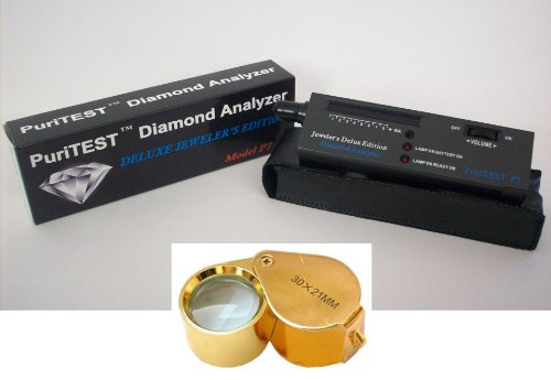 Puritest Electronc Diamond Testing Machine with Jewelers 30x Magnifying Glass Loupe-- Gemology Instruments ()