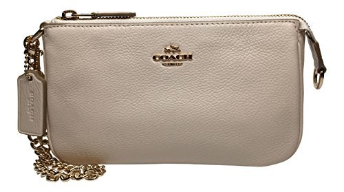 Coach Pebbled Leather Large Wristlet Handbag, Chalk by Coach