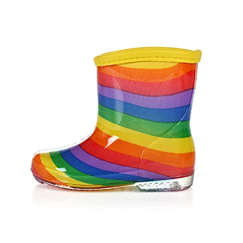 Absolutely Perfect Toddler Kids Colorful Rainbow Jelly Ankle Flat Rain Boots 1.5 M US Little Kid by Absolutely Perfect