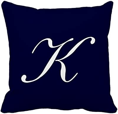 Amazon Com Mydesigner Letter K Navy Blue Monogram Pillow Cover For Sofa Or Bedroom Home Kitchen