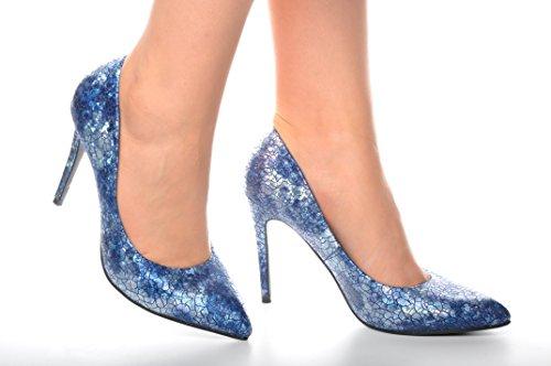 Azul Brillantes Piel de Serpiente Zapatos Puntiagudo Metalico Detalle Talones de Novia