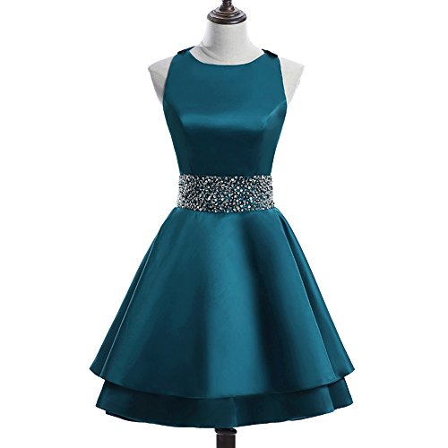 Homecoming Teal Dress (MEILISAY Womens Crew Beading Prom Dresses Short Sequined Homecoming Dresses for Teens Mini Cocktail Dresses LF-130 Teal)