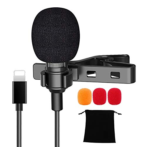 Professional Microphone for iPhone, Lavalier Lapel Microphone for iPhone 11/12/7/8/xr/xs/Plus/Pro/iPad/iPod Touch Series, Mini Noise Cancelling Microphone for YouTube, Vlog, Video Recording(4.92ft)