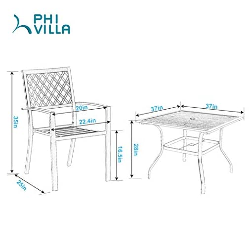Garden and Outdoor PHI VILLA Metal Outdoor Patio Dining Chairs and 37″x37″ Wood-Like Square Table Furniture Set of 5 patio dining sets