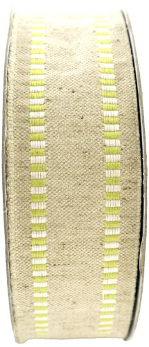 May Arts 1-1/2-Inch Wide Ribbon, Natural Burlap with Parrot Green Striped (Natural Parrot Green)