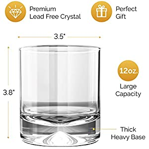 MOFADO Crystal Whiskey Glasses – Classic – 12oz (Set of 2) – Hand Blown Crystal – Thick Weighted Bottom Rocks Glasses – Perfect for Scotch, Bourbon and Old Fashioned Cocktails