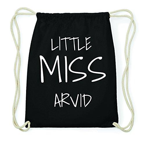 JOllify ARVID Hipster Turnbeutel Tasche Rucksack aus Baumwolle - Farbe: schwarz Design: Little Miss 7pz3vLV