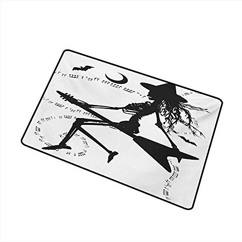 Diycon Fashion Door mat Music Witch Flying on Electric Guitar Notes Bat Magical Halloween Artistic Illustration W30 xL39 Environmental Protection]()