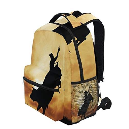 KVMV Bull Rider Silhouette at Sunset Dramatic Sky Rural Countryside Landscape Rodeo Lightweight School Backpack Students College Bag Travel Hiking Camping Bags
