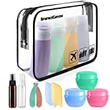 Beauty : InnoGear Travel Bottles Set, Leak Proof Toiletries Containers Refillable Kit Squeezable Silicone Cosmetic Toiletry Accessories , Amber Bottles, Cream Jars, Spray Bottles for Shampoo and Conditioner