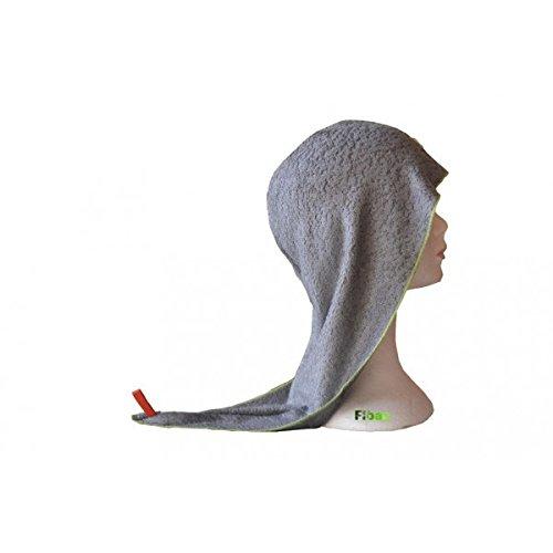 Serviette pour cheveux - en éponge de bambou - pratique et compacte - coloris gris - FIBAO