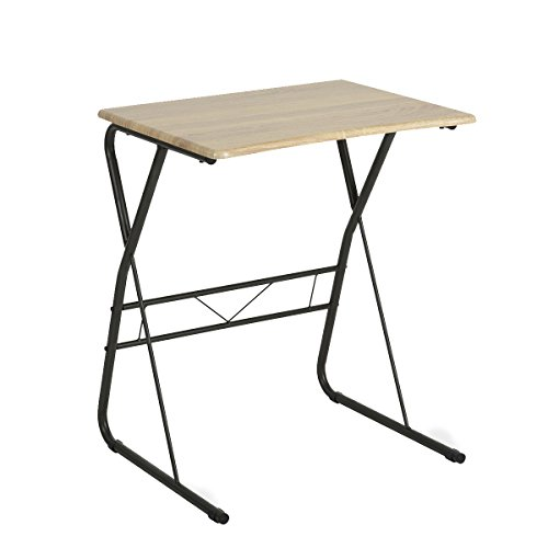 WOHOMO Portable Writing Desk Utility Computer Children's Reading Table Portable Laptop Desk Saving Spaces Oak Desk Surface Sturdy Metal Legs - Oak Round Sofa Table