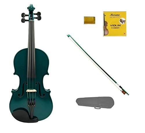 Merano 1/4 Size Green Violin with Green Bow, Case, Free Rosin and Extra Set of Strings for Beginners, Students, Gifts, Toys