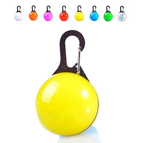 (Tree Top Dog Collar LED Disc-o Spotlight Pet Safety Blinker Flashing Lights Clip-On Keychain (Yellow))
