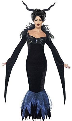 Ladies Demon Queen Evil Raven Halloween TV Film Long Full Length Fancy Dress Costume Outfit 8-22 Plus Size (UK -