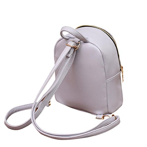 Gray Bag Pocciol Pink Leather Travel Bags Rucksack Satchel College Women Shoulder School Backpack q7Bfq6