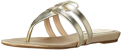 Nine West Women's Outside Synthetic Dress Sandal, Light Gold, 5.5 M US
