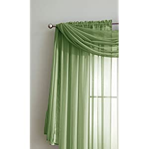"""Amazing Sheer Window Scarf Fabric Sheer Voile curtain for Window Treatment - Add to Window Curtains for Enhanced Effect (56""""x216"""", Sage)"""