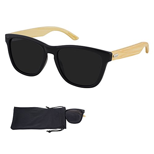 Tortoise Bamboo Shade - Frogskin Sunglasses - Smoke Lenses & Black Plastic Frame with Bamboo Arms - UV Ray Protected Shades For Men & Women - By Optix 55