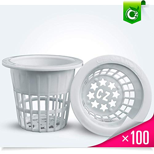 - 2 Inch Net Cups Heavy Duty Pots Wide Rim Design - Orchids Aquaponics Hydroponics Slotted Mesh (2 inch Cz All Star Net Pots - 100 White)
