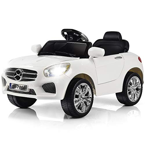 Costzon Kids Ride On Car, 6V RC Parental Remote Control & Foot Pedal Manual Modes, Battery Powered Vehicle w/LED Lights MP3 Functions (Pure White)