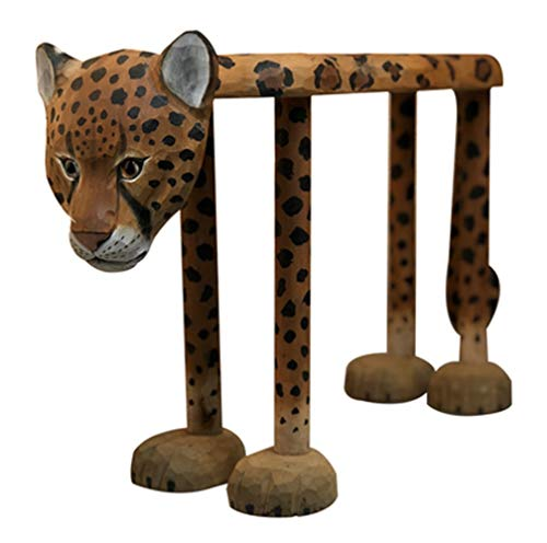 AINIYF Solid Wood Hand-Carved Animal Leopard Shoes Bench from Leopard Point Shoes ()