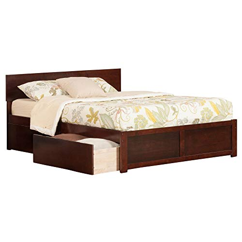 Atlantic Furniture Orlando King Platform Bed with Flat Panel Foot Board and 2 Urban Bed Drawers in Walnut ()