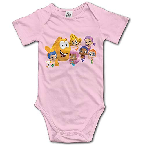Bubble Guppies Logo Custom Baby Girl Boy Jumpsuit Cotton Pink