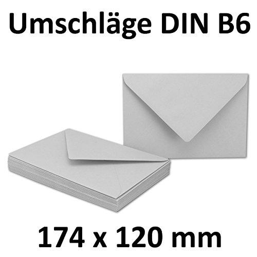 100x DIN B6 Briefumschläge // Hellgrau // 174 x 119 mm // 110 g/m² // Nassklebung - Qualitätsmarke: GUSTAV NEUSER