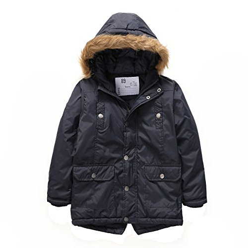 PHIBEE Boys' Winter Windproof Cotton Faux Fur Hooded Parka Jacket Blue 6X (Fur Parka Hooded)