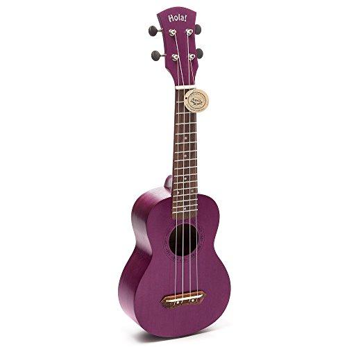 Hola! Music HM-121PP+ Deluxe Mahogany Soprano Ukulele Bundle with Aquila Strings, Padded Gig Bag, Strap and Picks - Purple - Image 1