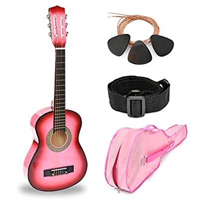 "30"" Pink Wood Guitar with Case and Accessories for Kids/Girls/Beginners"