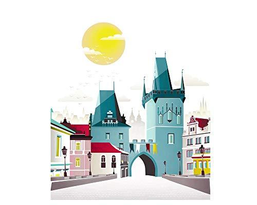 Prague Print, Charles Bridge, Czech Skyline Cityscape, Paper Print Wall Art Poster, Picture Home, Office, Bedroom, Kitchen, Gift, SPPPCB1 Frame ()