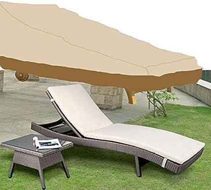 Cubierta para tumbonas al aire libre cubierta para tumbonas de jardín anti-UV impermeable de tela de ratán cubierta para todo tipo de clima, protección de muebles 208 x 76 x 41/79 cm (beige y café)